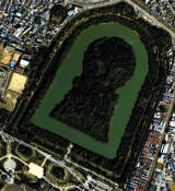 Vue aérienne du Kofun de l'Empereur Nintoku.